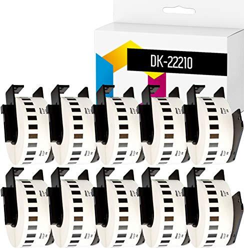 TONERPACK 10 Etiquetas Continuas DK22210, Cintas Compatibles para Impresoras Brother P-Touch QL-500 QL-570 QL-700 QL-720NW QL-800 QL-810W QL-820NWB QL-1050 QL-1100 QL-1110NWB (29mm x 30.48m) (10)