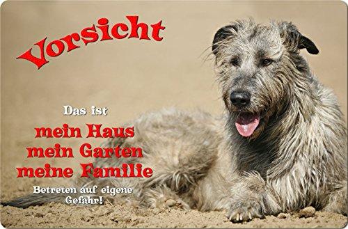 +++ Irischer WOLFHUND Irish Wolfshund - Metall WARNSCHILD Schild Hundeschild Sign - IRW 03 T1