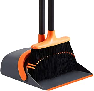 SANGFOR Dust Pan and Broom Set Cleans Broom and Dustpan Set Upright Stand Up Dustpan..