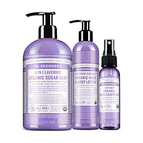 Dr. Bronner's - 3-Piece Organic Lavender Gift Set - (1) 8 oz. Lavender Coconut Lotion, (1) 2 oz. Lavender Hand Sanitizer Spray, (1) 12 oz. 4-in-1 Lavender Sugar Soap w/Pump