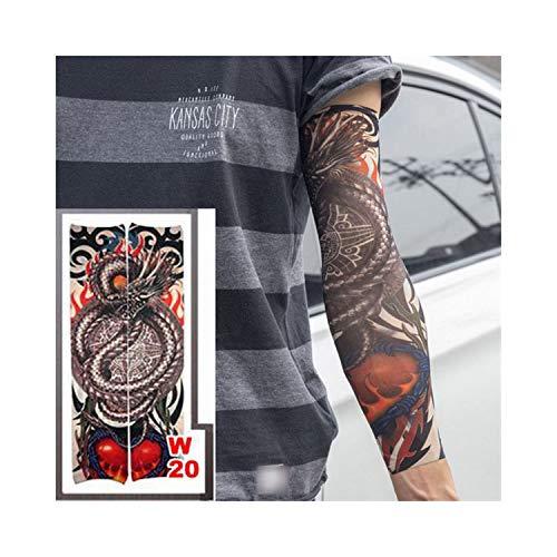 Manches De Tatouage Temporaire,Protection solaire manches moto, Fake Temporary Tattoo Sleeves Tattoos Full Long Slip On Arm Tattoo Sleeve Kit Men Elastic Nylon Glove Tattoos Black Skull Design w20