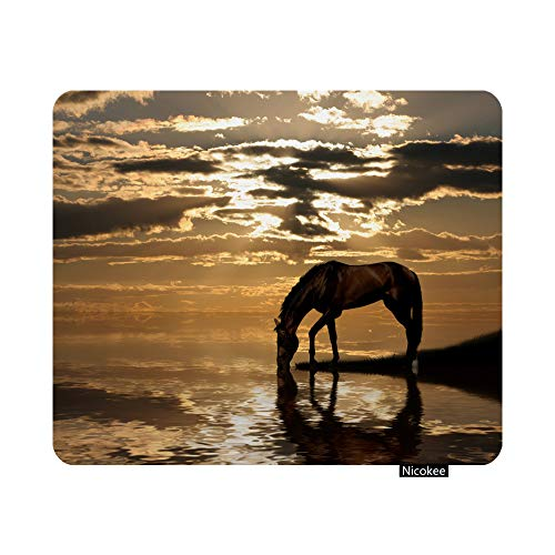 Nicokee Gaming Mouse Pad Horse Nature Scenic Photo Non-Slip Rubber Mouse Pad for Computers, Laptop, Office, Home Rectangle Personalized Mousepad 9.5 Inch x 7.9 Inch