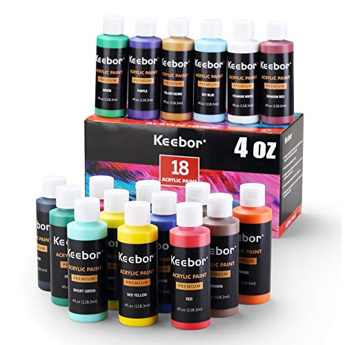 Keebor Artist Grade Acrylic Paint Set, 18 Colors (4oz, 120ml/each) for Art Painting, Safe & Non-Toxic