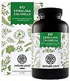 NATURE LOVE Bio Spirulina + Bio Chlorella mit 500 mg pro Pressling. 500 Tabletten. Laborgeprüft & ohne Zusätze. Hochdosiert, vegan und hergestellt in Deutschland