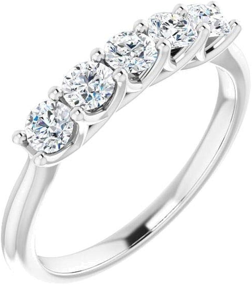 Bonyak Jewelry Platinum 5 8 CTW Popular popular Diamond in Anniversary Size OFFicial shop Band