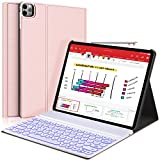 New iPad Pro 12.9 2020 2018 Keyboard Case - 7 Colors Backlit Detachable Keyboard Slim Leather Folio Smart Cover for iPad Pro 12.9' 4th Gen 2020/3rd Gen 2018[Support Apple Pencil Charging] -Rose Gold