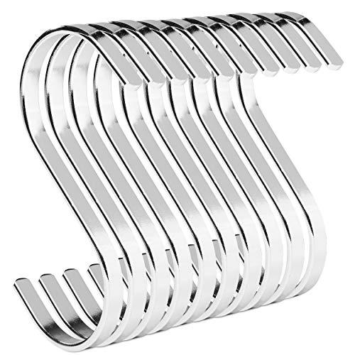 PAMO S Haken Silber aus Metall - 10er Set - Küchenhaken aus Edelstahl zum Aufhängen von Pfannen in der Küche oder Kleidung an der Kleiderstange S-Haken Stahl rostfrei (10, Silber)