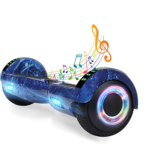 YHR 6.5 Inch Hoverboard with Bluetooth W/Speaker, Self Balancing Hoverboard for Kids Hover Board with LED Wheels/LED Lights for Kids Adults Gift