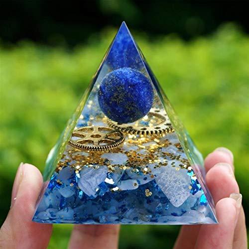 ABCABC Pirámide de Piedra lapislázuli Crystal Shpere con calcedonia Azul de Cobre Reiki Meditación Pyramide (Size : 60mm)