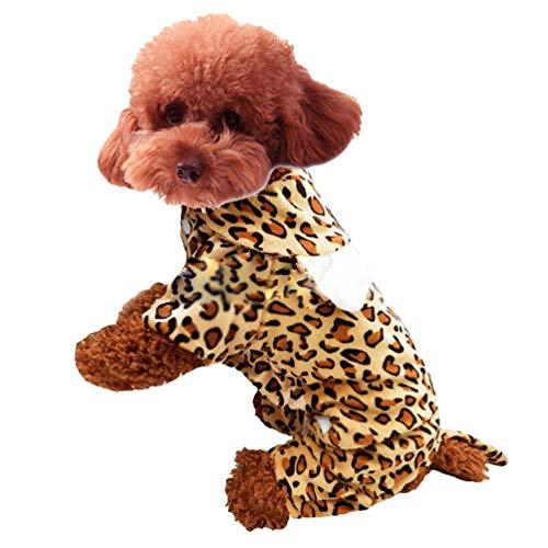 Xinwcang Haustier Kostüm für Hunde Halloween Leopard Druck Hundekostüm Kleidung für Weihnachten Kleid Karneval Hundemantel XL