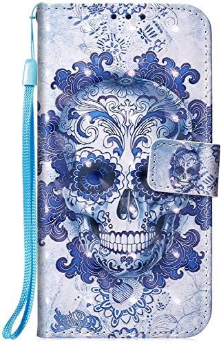 Hpory Cover Huawei Honor 20 Pro, Retro Design Flip Custodia in PU Pelle Protettiva Portafoglio Caso [Carta Slot] [Funzione Supporto] [Chiusura Magnetica] Custodia per Huawei Honor 20 Pro, Cranio Blu