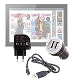 Pack / Kit de charge rapide et synchronisation micro USB DURAGADGET 3 en 1 pour tablettes tactiles Carrefour Touch Tablet CT 1010W 10' & CT1010 10,1 (Android)– câble USB, chargeur secteur et allume-cigare (2 amp) - Garantie 2 ans