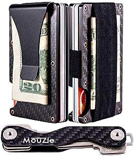 MouZie Carbon Fiber Money Clip + Cash Strap Band Slim Aluminum RFID Blocking Minimalist Premium Front Pocket Credit Card H...
