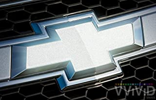 VViViD Reflective Silver Auto Emblem Vinyl Wrap Overlay Cut-Your-Own Decal for Chevy Bowtie Grill, Rear Logo DIY Easy to Install (2 Rolls (11.8 Inch x 4 Inch))
