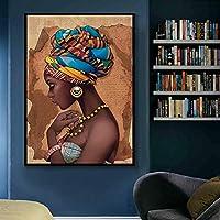 黒人女性アフリカキャンバス絵画壁アートアートワーク写真キャンバスの家の装飾リビングルームの壁の写真(60x80cm)1pcsフレームなし