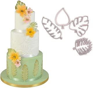 Youzpin 4 Pcs Tropical Leaves Shape Cake Fondant Embossing Mold Set,Monstera Cookie Sugarcraft Fondant Cutters,Cake Decor Baking Tools for Mini Cake Decoratio