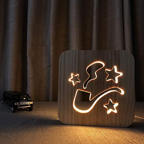 KK Zachary Tubo de luz de noche de madera 3D hueco USB creativo decorativo LED lámpara de mesa dormitorio habitación de los niños cumpleaños 19 x 19 cm escritorio