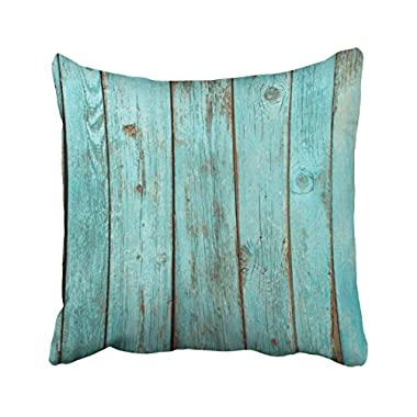 Emvency Square 18x18 Inches Decorative Pillowcases Wood Pillows Turquoise Wood Teal Barn Wood Weathered Beach Cotton Polyester Decor Throw Pillow Cover With Hidden Zipper For Bedroom Sofa