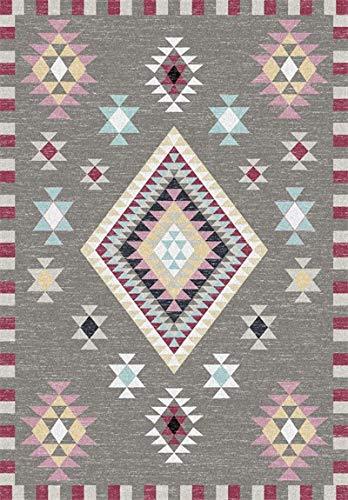 Moderne Teppich Vorleger Grau Grinded Weiß Dreieck Rhombus Mehrfarbige Geometrische Ethnische Art Guest Bett Küche Bodenmatte Teppich