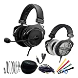 Beyerdynamic MMX 300 (2nd Generation) Premium Conference Call Headset Work-from-Home WFH Bundle with DT990 Pro Headphones, 6 Foot Headphone Extension Cable, Headphone Splitter, and Cable Ties