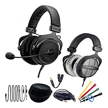 Beyerdynamic MMX 300  2nd Generation  Premium Conference Call Headset Work-from-Home WFH Bundle with DT990 Pro Headphones 6 Foot Headphone Extension Cable Headphone Splitter and Cable Ties