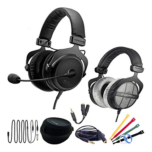 Beyerdynamic MMX 300 (2nd Generation) Premium Conference Call Headset Work-from-Home WFH Bundle with DT990 Pro Headphones, 6 Foot Headphone Extension Cable, Headphone Splitter, and Velcro Cable Ties