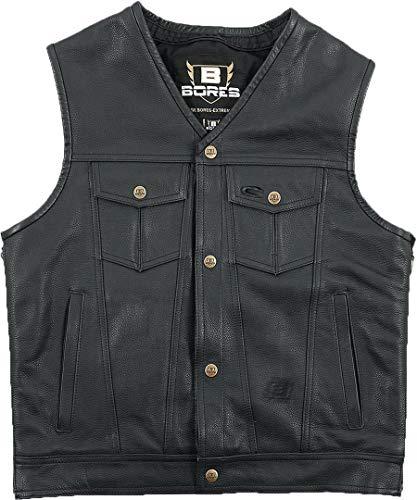 Bores Sunride 6 Lederweste Jeans-Optik mit Seitlicher Weitenverstellung, Schwarz, Größe L