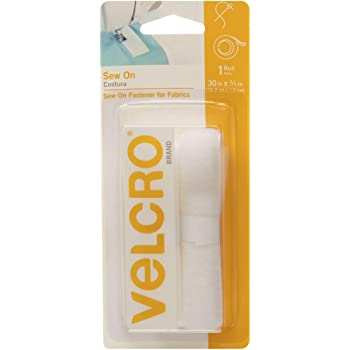 VELCRO Brand For Fabrics | Sew On Fabric Tape for Alterations and Hemming | No Ironing or Gluing | Ideal Substitute for Snaps and Buttons | Tape, 30in x 3/4in, White