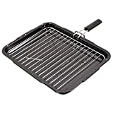 SPARES2GO Grill Pan with Removable Handle for Bosch Oven Cooker (385mm x 300mm)