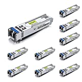 1.25G SFP Transceiver 1000Base-LX, 1310nm SMF, up to 10 km, Compatible with Cisco GLC-LH-SMD/GLC-LH-SM/SFP-GE-L, Meraki MA-SFP-1GB-LX10, Ubiquiti UF-SM-1G, Mikrotik, Pack of 10