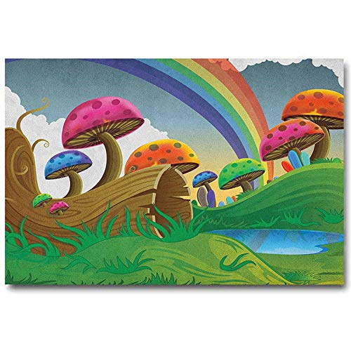 ScottDecor Mushroom Music Posters for Walls Countryside Sunny Playful Environment Foliage Rainbow Spring Scenery Kids Room Multicolor L24 x H36 Inch