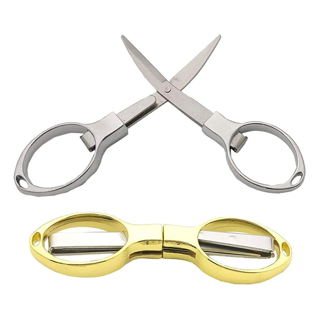 Chris.W Pack of 2 Folding Safety Scissors Foldable Pocket Sharp Blade Travel Scissors Cutter - Can Hang on Your Key Chain (Silver/Golden)