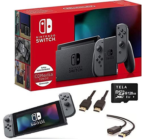 Newest Nintendo Switch with Gray Joy-Con 6.2 Inch Touchscreen LCD Display 802.11AC WiFi, Bluetooth 4.1 Family Christmas Holiday | 128GB Micro Card Accessories
