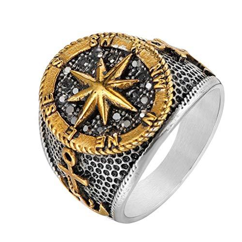 Feinny 2020 Mens Personality Compass Ring, Diamant Anchor Acero Inoxidable Scandinavian Amulet Jewelry, Moda Vintage Party Personalidad Sólido Anillo,Oro,10