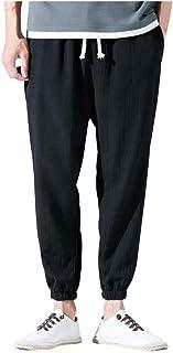 0baea00c18482 LILICATღPantalons Hommes-Pantalon décontracté d'été pour Homme avec Cordon  de Serrage en Lin