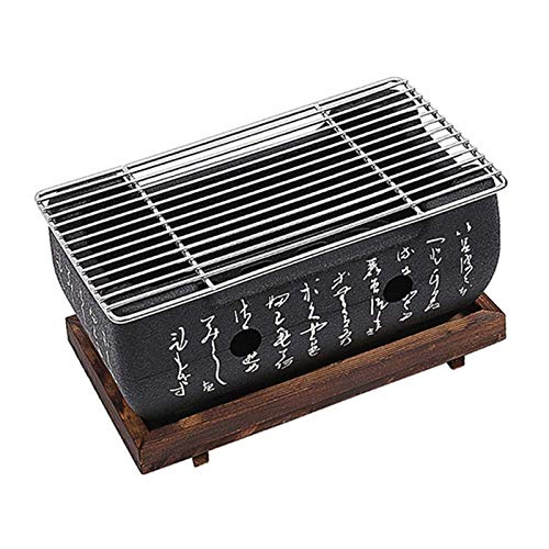 51tZSnXMQiL. SL500  - YAOLUU Grill zubehör Mini-Tisch-Top-Holzkohlegrill-tragbarer japanischer BBQ-Grillkohleherd mit Drahtnetzgrill und Basis Grill BBQ (Size : 24cm×12.5cm)