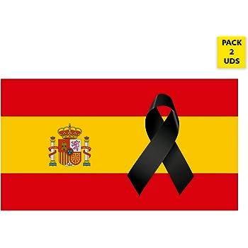 Oedim Pack 2 Banderas de España con Crespón | Medidas 85x150cm | Reforzada y con Pespuntes | Bandera de España con Crespón y 4 Ojales Metálicos | Resistente al Agua: Amazon.es: Hogar