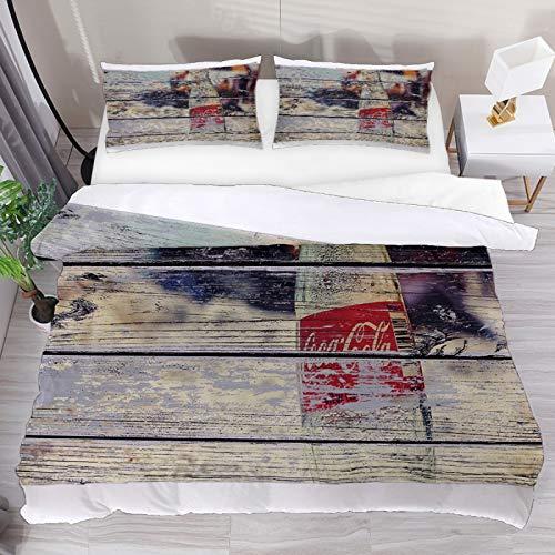 Set copripiumino matrimoniale vintage Coca Cola, 3 pezzi, copripiumino e 1 federa per cuscino, 1 copripiumino