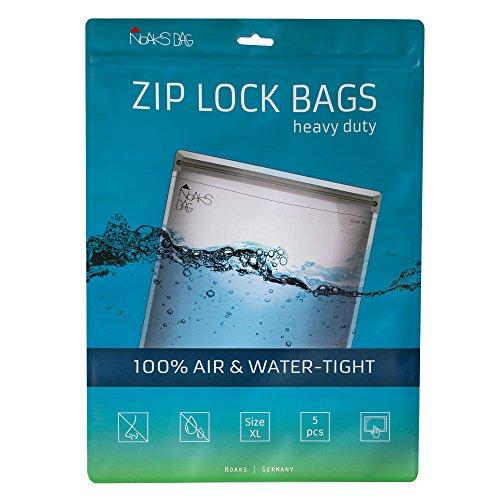 Noaks Bag | Schutzhülle, Zip-Beutel, Dry-Bag | Größe XL – 5 Stück | 100% wasserdicht, geruchsdicht & sicher | Für Urlaub, Sport & Reisen | Das Original