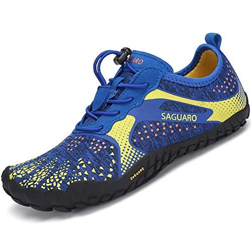 SAGUARO Kinder Aquaschuhe Jungen Traillaufschuhe Outdoor Mädchen Gymnastikschuhe Schnell Trocknend Strandschuhe Trekking Blau Gr.36