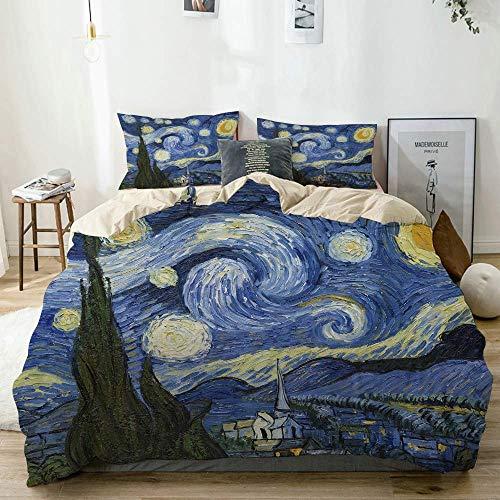 Funda nórdica Beige, Pintura al óleo de la Noche Estrellada de Van Gogh, Juego de Cama de Microfibra Impresa de Calidad de 3 Piezas, diseño Moderno con suavidad y Comodidad