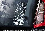 Sticker International Canna Corso - Adesivo Auto - Cane Firmare Finestrino, Paraurti Adesivi Regalo - V006 - Bianco/Trasparente - Interno Reverse Stampa, 210x100mm