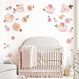 decalmile Pegatinas de Pared Acuarela Floral Vinilos Decorativos Rosa Flor Adhesivos Pared Niña Infantiles Habitación Salón Dormitorio
