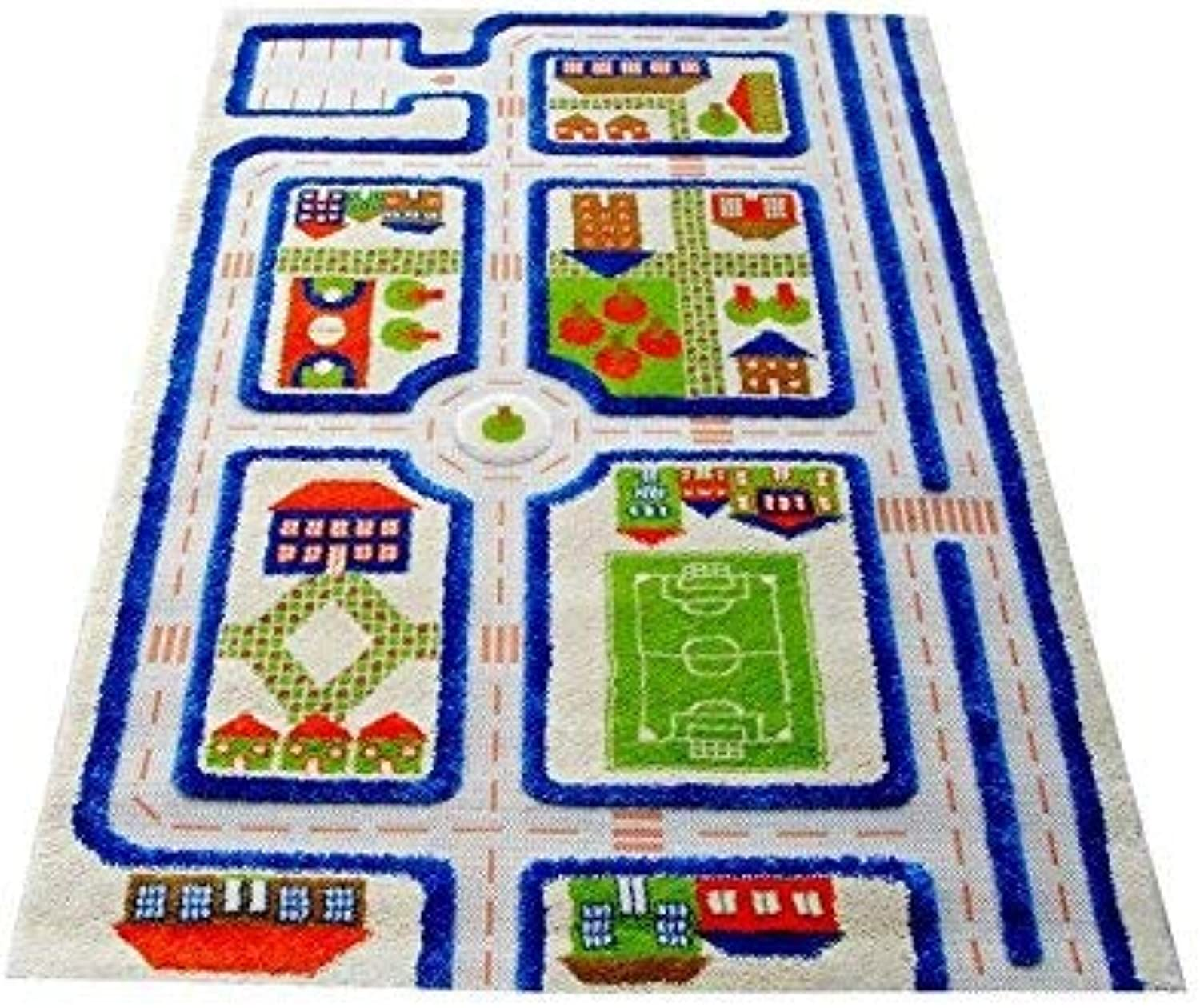 Traffic bluee by IVI 3D Play Rugs, 39x59 Inches