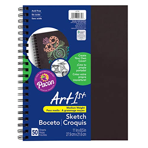 """Pacon PAC4779 Art1st Create Your Own Cover Sketch Diary, 11"""" x 8.5"""", Black"""