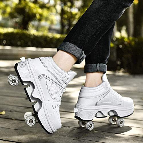 Patines De Ruedas 2 En 1, Zapatos Multifuncionales, Zapatos De Skate, Zapatillas Deportivas con Led para Niños Y Niñas,White High Top-36