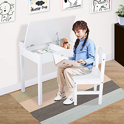 JAXPETY Modern Wood Lift-Top Writing Table and Chair Set for Toddlers, Ergonomic Kids Desk Set with Storage for Study Play Eating, 3-8 Years Old, White