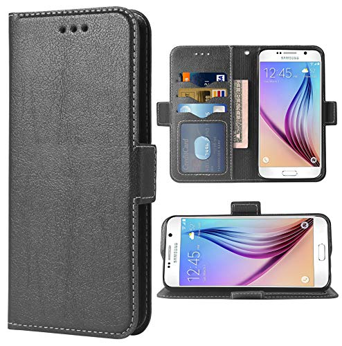Phone Case for Samsung Galaxy S6 Folio Flip Wallet Case,PU Leather Credit Card Holder Slots Heavy Duty Full Body Protection Kickstand Protective Phone Cover For Glaxay 6s S 6 GS6 Cases Black