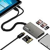LINKUP 8-in-1ハブ―4K HDMI、USB-A 3.0、SD、Micro SD (TF)、 コンパクトフラッシュ、SATAハードドライブアダプターポート拡張器―Surface Pro 3/4/5/6、Macbook対応