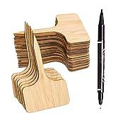 Whaline 50Pcs Etiquetas de Plantas de Bambú con un Rotulador, Etiquetas de Signo de Plantas de...